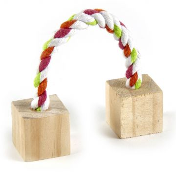 Pet Ting Rope With Wooden Blocks